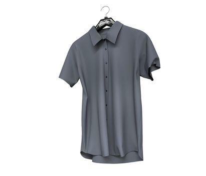 Grey short sleeve shirt isolated on white background.