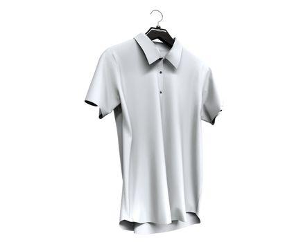 White short sleeve shirt isolated on white background.