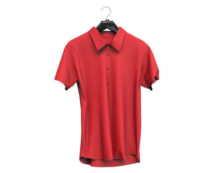 Red short sleeve shirt isolated on white background.