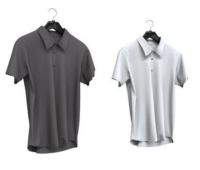 Grey and white short sleeve shirts isolated on white background.