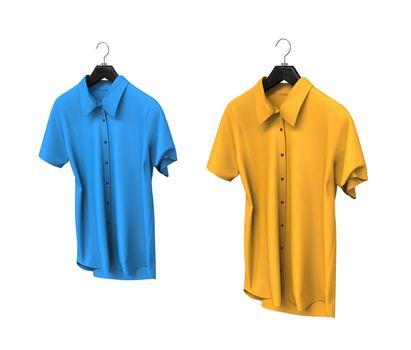 Blue and yellow short sleeve shirts isolated on white background.