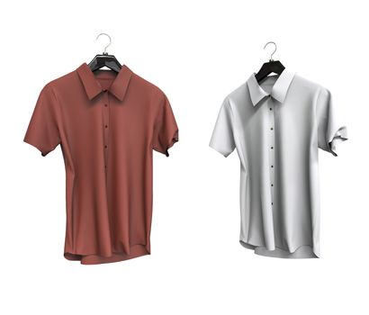 Red and white short sleeve shirts isolated on white background.