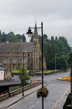 Walking in small scotland town of Jedburgh