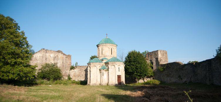 Church inside a castle ruins in Georgia mountains