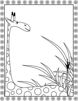 coloring big beautiful giraffe on the wildlife