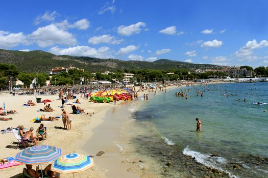 PALMA NOVA BEACH, MAJORCA, SPAIN - 27th August 2015: Palma Nova beach resort on the 27th August 2015. This is a popular and established tourist destination every summer.