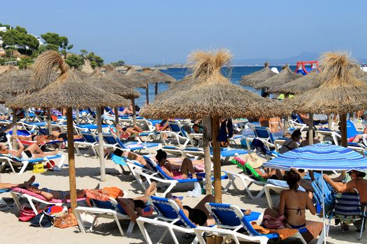 PALMA NOVA BEACH, MAJORCA, SPAIN - 25th August 2015: Palma Nova beach resort on the 25th August 2015. This is a popular and established tourist destination every summer.
