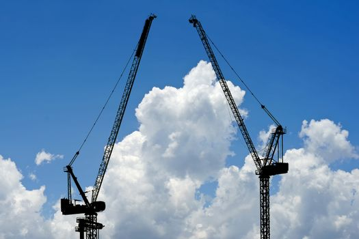 silhouette of construction crane
