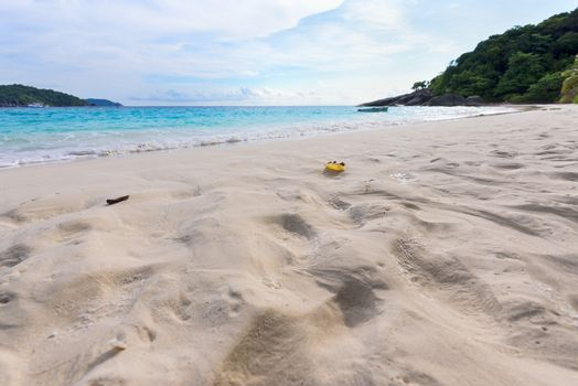 Sand on beach at Similan island in Thailand