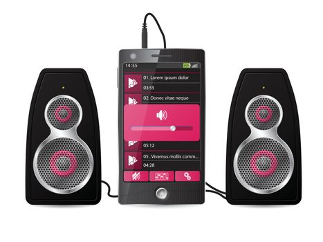Stereo speaker set plugged into phone