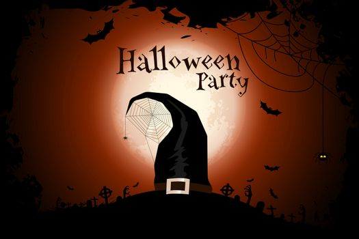 Halloween Zombie Party Poster with Hat. Holiday Card.
