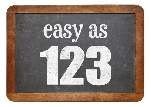 Easy as 123 sign - white chalk text  on a vintage slate blackboard