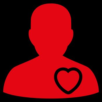 Patient Heart raster icon. Style is flat symbol, red color, rounded angles, black background.