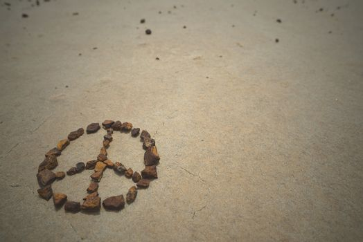 Peace symbol stones hipster summer beach