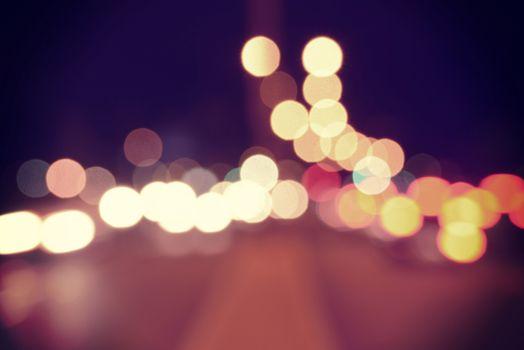 Bokeh urban blur lights vintage hipster background