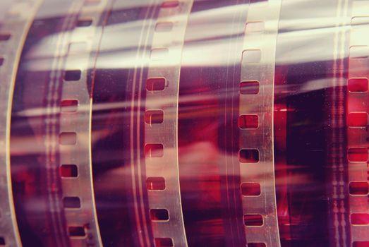 Closeup vintage photography film strip roll