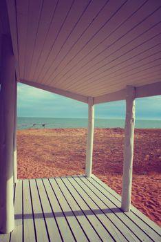 Beach house porch white vintage filter background