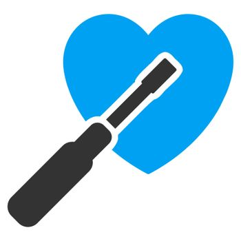 Heart Tuning raster icon. Style is bicolor flat symbol, blue and gray colors, rounded angles, white background.