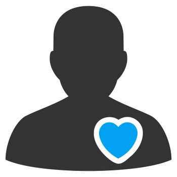 Patient Heart raster icon. Style is bicolor flat symbol, blue and gray colors, rounded angles, white background.