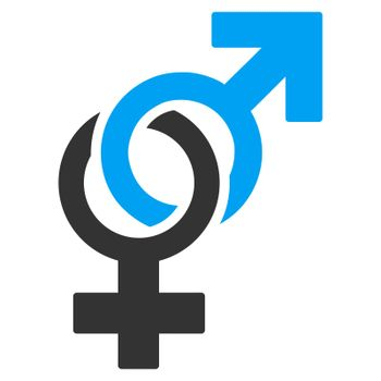 Sexual Symbols raster icon. Style is bicolor flat symbol, blue and gray colors, rounded angles, white background.