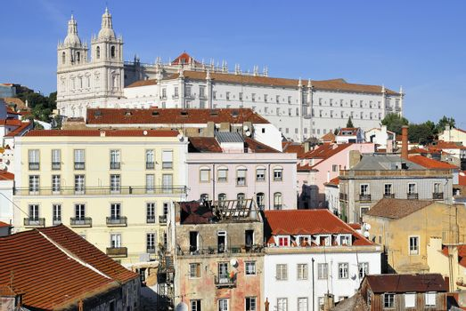 Panorama of old traditional city of Lisbon with red roofs and view of river Tagus.
