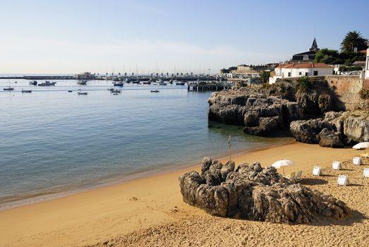 Beautiful beach in Carcavelos near Lisbon, Portugal