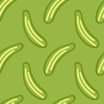 Cucumber Seamless Pattern Kid's Style Hand Drawn Rastr