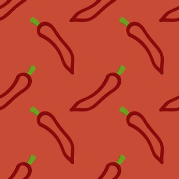 Chili Pepper Seamless Pattern Kid's Style Hand Drawn Rastr