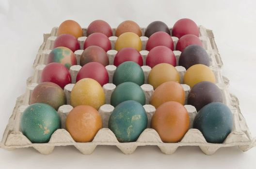 Painted Easter eggs in the paper base