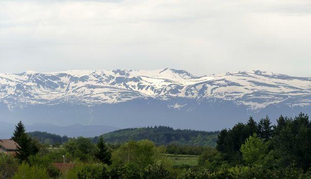 Springtime landscape in Plana mountain with view  for the  Rila mountain, Bulgaria