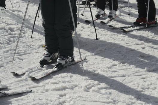 Skier wait turn for slide in whiter, Borovetz resort, Bulgaria