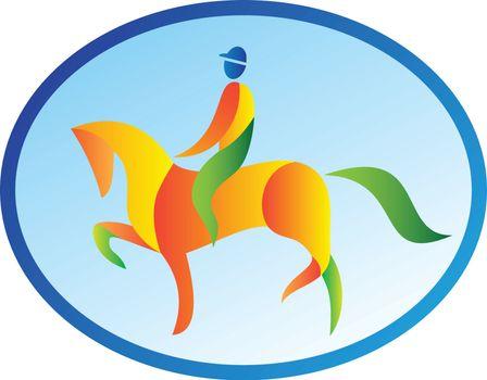 Equestrian Rider Dressage Oval Retro