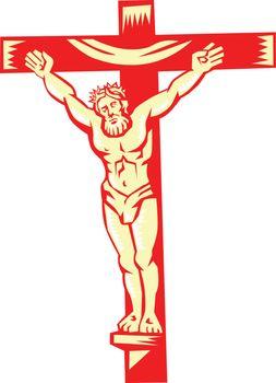 Jesus Christ On Cross Woodcut