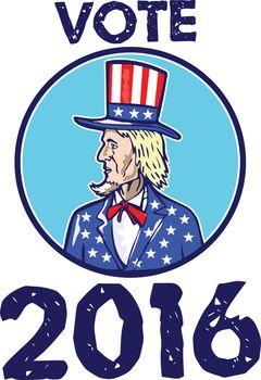 Vote 2016 Uncle Sam TopHat American Flag Circle Retro