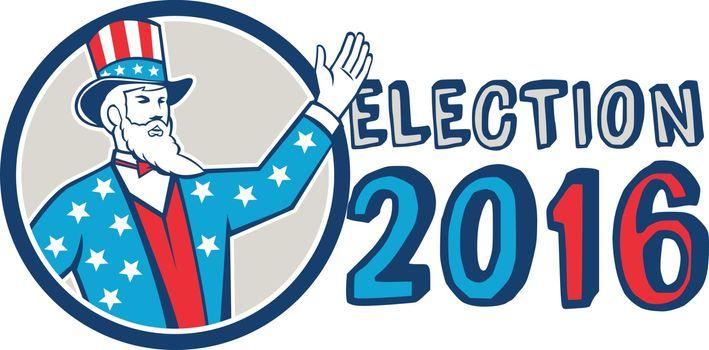 Election 2016 Uncle Sam Hand Up Circle Retro