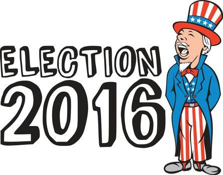 Election 2016 Uncle Sam Shouting Retro