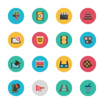 Set of icons of cinema. A vector illustration