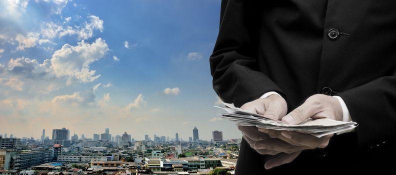 Economic capital injection concept, Businessman invest in capital economic