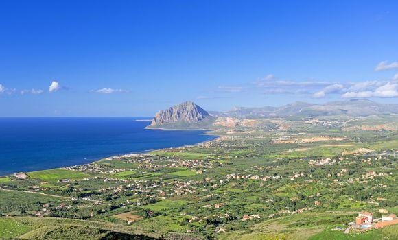 Bird view on Sicily coast