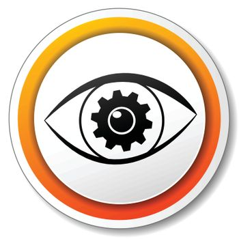 illustration of orange and white icon for eye