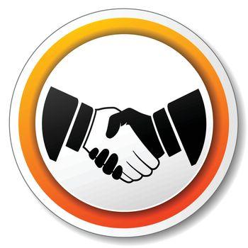illustration of orange and white icon for handshake
