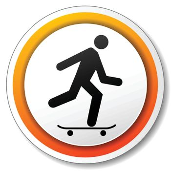 illustration of orange and white icon for skateboard