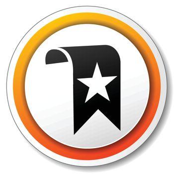 illustration of orange and white icon for bookmark