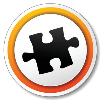 illustration of orange and white icon for puzzle