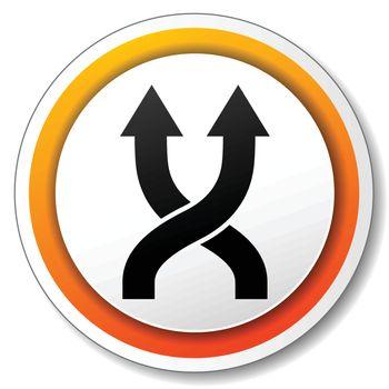illustration of orange and white icon for shuffle