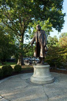 Public statue of Edward Everett Hale found in Bostons Public Garden in Massachusetts.