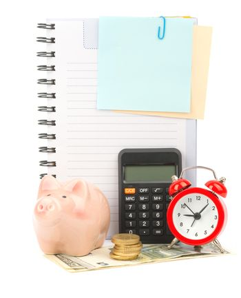 Copybook with calculator and money
