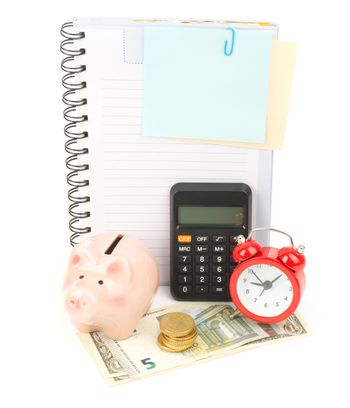 Copybook with calculator and cash