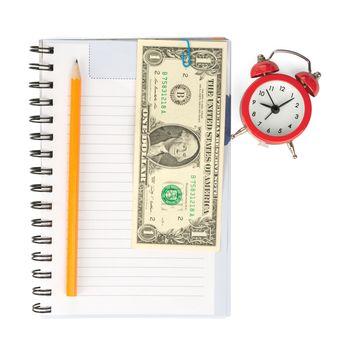 Copybook with alarm clock and cash