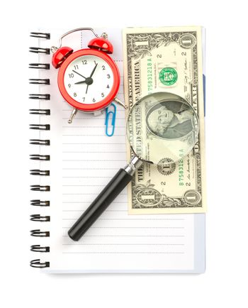 Copybook with loupe and cash
